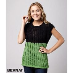 The Fresh Mesh Sleeveless Sweater is a great transitional piece to throw on when the temperature begins to rise. Take your normal sweater up a notch with this mesh, two-toned top. The green and black look lovely together. Knitting Paterns, Easy Knitting, Knitting Designs, Knitting Yarn, Knit Patterns, Knitting Projects, Top Pattern, Free Pattern, Couture