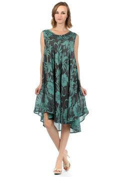 Amazon.com: Sakkas 91531 Floral Embroidered Tank Sheath Caftan Mid Length Dress - Dusty Teal / One Size: Clothing