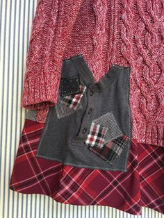 Upcycled Thick Chunky Cotton Cable Knit Oversized Sweater Tunic Big Appliqué Front Pockets Sweater is a J Jill brand Red Plaid Hemline Red and Grays Sweater label is an XL (Id say it is a large size based on measurements) 20 across armpit 27 across hips 35-36 long