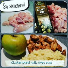 Best lunch ever for fitness guy like me  150 g chicken breast 100 curry rice and apple
