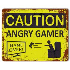 Find great deals for Caution: Angry Gamer - Vintage Metal Gaming Sign Retro Videos, Retro Video Games, Angry Game, Gamer Quotes, Ideas Habitaciones, Weird Toys, Video Game Rooms, Game Room Design, Vintage Metal Signs