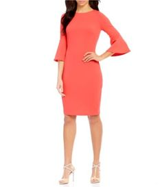 Calvin Klein Bell-Sleeve Sheath Dress #Dillards