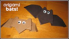 Origami bats. Step-by-step instructions and a free download of bat-themed writing paper available for kids to record what they learned.