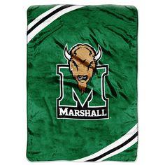 Marshall Thundering Herd NCAA Royal Plush Raschel Blanket (Force Series) (60x80)