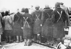 Ravensbruck female prisoners - Surviving female prisoners, marked with white crosses, gather in April 1945 as the Red Cross arrive at Ravensbrück (Wiki Commons)