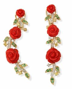 Carved Coral Rose and Gemstone Earrings in 18k Gold