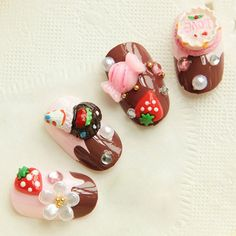 Love Cake Candy Chocolate 3D Strawberry 24 Nail Tips Cute Foils Queen Wraps