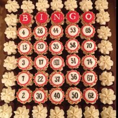 we've been charged with making the cupcakes for my grandma's birthday this year. this may just be our inspiration! she loves bingo and still plays each week! Bingo Cake, Bingo Party, 75th Birthday Parties, 80 Birthday Cake, Birthday Ideas, Cute Cupcakes, Cupcake Cookies, Party Treats, Party Cakes