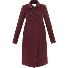 Opening Ceremony Babydoll coat ($440) ❤ liked on Polyvore featuring outerwear, coats, red coat, opening ceremony, red double breasted coat, slim fit coat and pleated coat