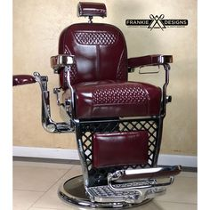 Custom Emil J Paidar, complete restoration with original barbers stool attached. Definitely one of a kind and super rare. Going to a great… Barber Chair Vintage, Classic Barber Shop, Barber Equipment, Barber Shave, Unusual Clocks, Garage Furniture, Hair And Beard Styles, Hair Styles, Painted Chairs