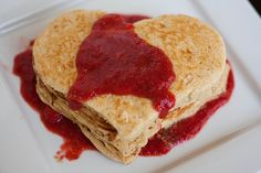 Whole Wheat Pancakes with Strawberry Sauce from handletheheat.com