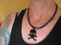 Black Skull and Crossbones Necklace by BeadToLive on Etsy, $30.00