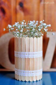 vaso de flores - palitos de picolé