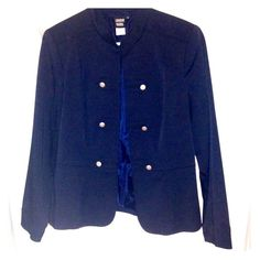 Post‼️STATEMENT Jacket--Military Inspired Military Inspired Navy Jacket‼️EUC ‼️no visible signs of wear. Dark navy. Silver buttons are non functional - simply for looks. Closure is hook -n-eye. Women's size 8. Sharon Young brand. AWESOME STATEMENT PIECE! Sharon Young Jackets & Coats
