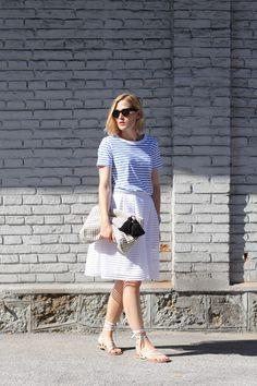 tifmys – Céline Mini Audrey sunnies, Cos striped shirt, Vero Moda skirt, Zara knitted clutch & Asos lace-up sandals.