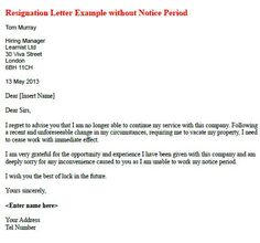 Free Printable Letter Of Resignation Form Generic  Two Weeks