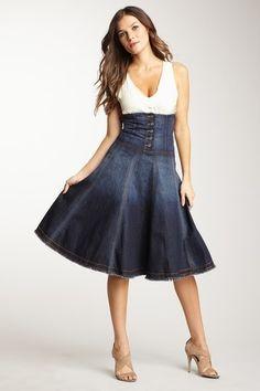 denim corset skirt: