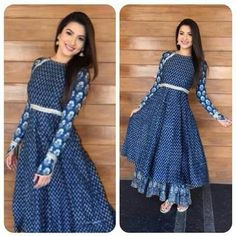 Indian Anarkli suits are perfect for sew DIY projects, and are perfectly transformed into mid-length western dresses. Modest without god can be fun and pretty. Pakistani Dresses, Indian Dresses, Indian Outfits, Western Dresses, Indian Attire, Indian Wear, Kurta Designs, Blouse Designs, Mode Hijab