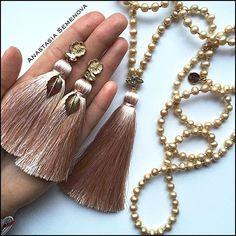"Комплект был изготовлен на заказ, для Натальи <span class=""emoji emoji263a""></span>️ #сотуар #серьгикисти #ручнаяработа #украшения ... Tassel Earing, Beaded Tassel Earrings, Tassel Jewelry, Beaded Earrings, Silk Thread Earrings, Thread Jewellery, Handmade Beaded Jewelry, Jewelry Crafts, Fashion Jewelry"