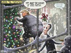 Mistletoe, Trump, Romney, Sean Delonas, Delonas, SeanDelonas.com, cartoon, Humor, Satire, Cabinet, Secretary of State,