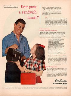 1953 Betty Crocker General Mills Sandwich Lunch Original Food and Drink Print Ad