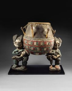 Kettledrum with Female Caryatids Culture: Akan peoples | Ghana, Asante traditional area, early 20th century | Medium: Wood, pigment | One Met. Many Worlds. | The Metropolitan Museum of Art