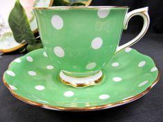 Royal Albert Teacup Lime Green Polka Dot
