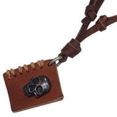 Men's Adjustable Brown Leather Necklace Book With Skull Design Men's Jewellery #mensfashion #mensjewellery