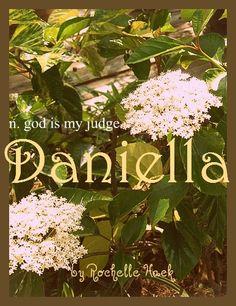 Baby Girl Name: Daniella. Meaning: God is My Judge. Origin: Hebrew; Italian. http://www.pinterest.com/vintagedaydream/baby-names/