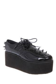 YRU Kreep Er Black Spiked Platform Shoes