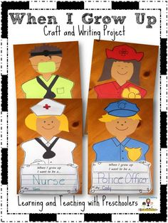 When I Grow Up craft is a great extension to your community helper unit. It is also a fun way for your little ones to share a little bit about the. Community Helpers Crafts, Community Helpers Kindergarten, Kindergarten Social Studies, Social Studies Activities, School Community, Classroom Community, Communities Unit, Community Workers, When I Grow Up