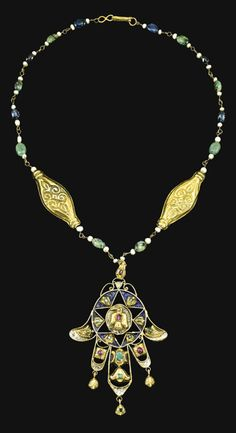 Morocco | Gold and enamel necklace with a hand of Fatima pendant | 18th century | Est. £7'000 = 10'000 (Apr. '14)