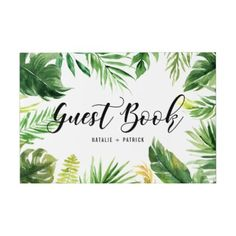 Watercolor Tropical Leaves Frame Wedding Guest Book - calligraphy gifts custom personalize diy create your own Wedding Frames, Wedding Guest Book, Bachelorette Banner, Photo Guest Book, Guest Books, Nautical Wedding Theme, Wedding Planning Tips, Event Planning, Tropical Leaves