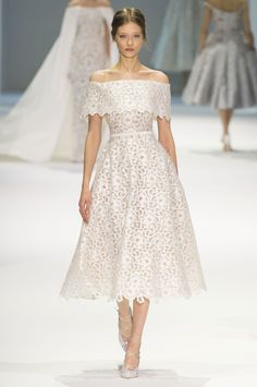 Ralph & Russo | Spring 2015 Couture | 05 White belted off shoulder midi dress