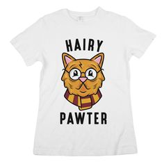 """If Mrs. Norris the cat is your favorite Harry Potter character, then our """"Hairy Pawter"""" cat tee is perfect! For all things Harry Potter and feline fans!"""