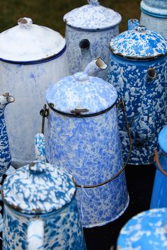 Blue and white graniteware coffeepots