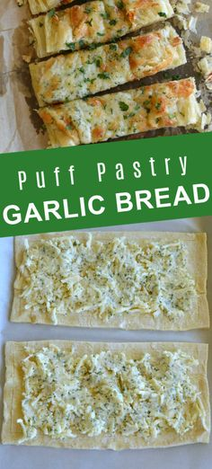 Puff Pastry Appetizers, Appetizer Recipes, Savoury Puff Pastry Recipes, Bread Appetizers, Delicious Appetizers, Dinner Recipes, Cheesy Garlic Bread, Garlic Cheese, Cheese Bread