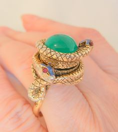 Todays arrivals Rare outstanding ART poison double snake red rhinestone green from vintageshari on Ruby Lane