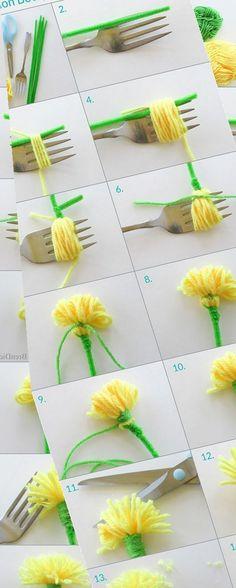 Easy Yarn Crafts, Easy Mother's Day Crafts, Yarn Crafts For Kids, Easy Valentine Crafts, Diy Crafts For Teens, Diy Crafts For Home Decor, Easter Crafts, Diy Gifts To Make, Diy Crafts How To Make