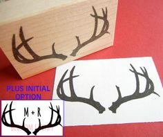 Buck Deer Antler Rubber Stamp w. Optional Initials Added