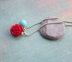 little rose Necklace sterling silver by fleurfatale on Etsy, €32.00