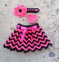 **Made to Order** This is for a beautiful crochet chevron skirt with matching ribbon in size 0-6 months.
