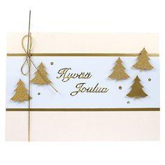 Leikkaa valkoisesta Ruska-kartongista korttiin sopiva suikale, kehystä se kullanvärisellä paperilla. Tee pieni reikä kortin taitokseen, pujota ja solmi kultainen nyöri paikoilleen. Kiinnitä hyvää joulua -teksti korttiin. Leikkaa kuusiaiheisella kuviolävistimellä kuusia kimallekullan ja kullanvärisestä paperista. Kiinnitä kuuset korttiin kohotarrapalojen avulla. Koristele kullanvärisellä kimalleliimalla.