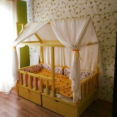 Montessori kids bed, made in Latvia from the highest quality pine tree beams, painted with kids-friendly colors. Pine Tree, Kid Beds, Kids Furniture, Montessori, Beams, Toddler Bed, Colors, Diy, Home Decor