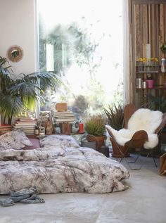 Bohemian style bedroom with tie-dye bedding