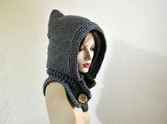 eadb4788d0f Hand Knit Hat - Pixie Hat in Grey -Winter Fashion - Wool Women Hood Cowl -  Winter Accessories Chunky Knit