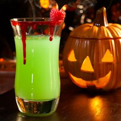 Vampires Kiss Punch  — non-alcoholic recipe great for kid or adult party. Shows you how to rim the glass in blood!