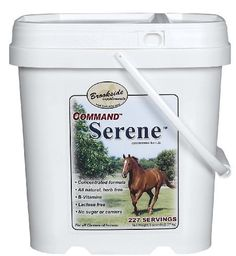 Command Serene Powder - 5 lb (115 days) by Brookside. $129.95. Command Serene is an all-natural, herb-free calming formula guaranteed for your satisfaction. Counteracts the stress of competition and intense training that can produce irritability and nervous, unpredictable behavior. Allows the horse to be more focused. Command Serene Powder contains concentrated amounts of vitamins B1, B2 and B6, plus niacin, folic acid and magnesium. Contains no sugar or herbs....
