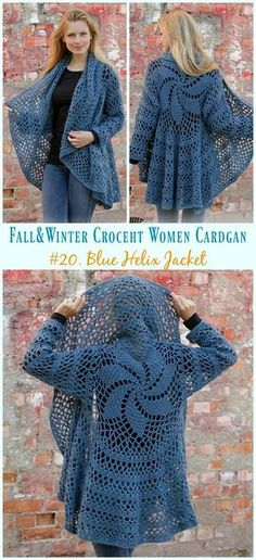 acee5d420 Blue Helix Jacket Crochet Free Pattern - Fall  amp  Winter Women  Cardigan   Free