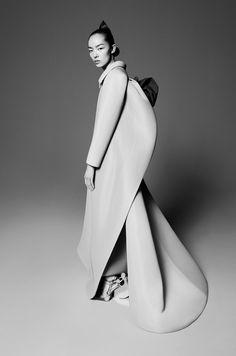 Sculptural Fashion - neoprene dress coat with sleek silhouette // John Galliano for Maison Margiela Fall 2015